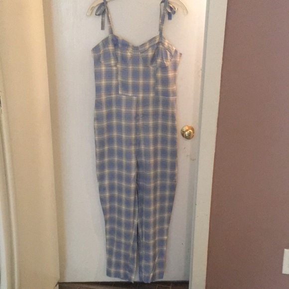 Shein summer jumpsuit plaid M